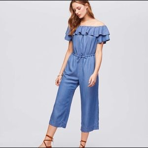 Loft super soft chambray jumpsuit with pockets